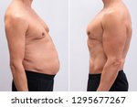 Small photo of Side View Of A Mature Man Before And After Loosing Fat On White Background. Body shape was altered during retouching