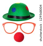 Clown Hat With Glasses And Red...
