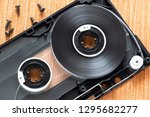 disassembled audio cassette... | Shutterstock . vector #1295682277