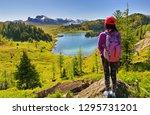 a female hiker overlooking the... | Shutterstock . vector #1295731201