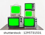 five vintage televisions on old ...   Shutterstock . vector #1295731531