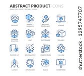 Stock vector simple set of abstract product related vector line icons contains such icons as product research 1295747707