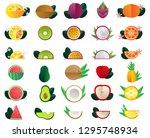 vector fruits icon set flat... | Shutterstock .eps vector #1295748934