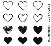 heart hand drawn icons set.... | Shutterstock .eps vector #1295772631