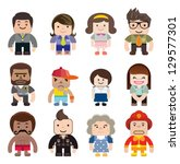 a series of cute characters... | Shutterstock .eps vector #129577301