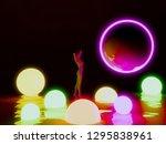 3d model women with neon ball | Shutterstock . vector #1295838961