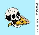 skull eating pizza slice color...   Shutterstock .eps vector #1295887867