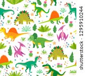 childish pattern with dinosaurs ...   Shutterstock .eps vector #1295910244