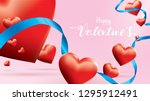 valentine 3d colorful red... | Shutterstock .eps vector #1295912491