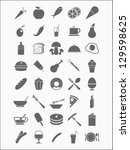 set of detailed food icons | Shutterstock .eps vector #129598625