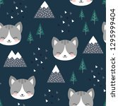 cat seamless pattern background ... | Shutterstock .eps vector #1295999404