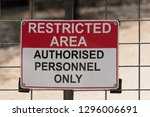 restricted area  authorised... | Shutterstock . vector #1296006691