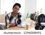 serious african girl youtuber...   Shutterstock . vector #1296008491