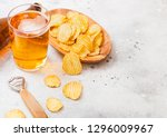 glass and bottle of craft lager ... | Shutterstock . vector #1296009967