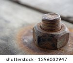 close up  steel nut on old... | Shutterstock . vector #1296032947