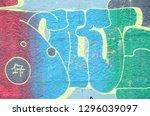 fragment of graffiti drawings....   Shutterstock . vector #1296039097