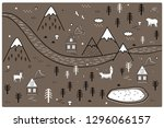 river  mountains and woods...   Shutterstock .eps vector #1296066157