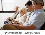 row of multiethnic people... | Shutterstock . vector #129607001