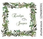 vector floral card design.... | Shutterstock .eps vector #1296085501