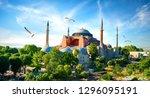 hagia sophia in summer istanbul ... | Shutterstock . vector #1296095191