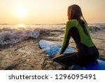 beautiful woman in a diving...   Shutterstock . vector #1296095491