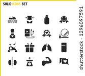 healthy icons set with fridge ...