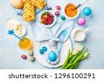 easter breakfast table. blue... | Shutterstock . vector #1296100291