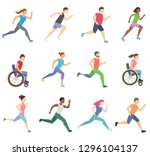people run and ride in... | Shutterstock .eps vector #1296104137