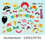 design for jewish holiday purim ... | Shutterstock .eps vector #1296124741