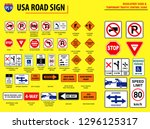 set of usa road sign.... | Shutterstock .eps vector #1296125317