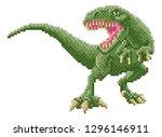 a dinosaur trex 8 bit pixel art ...   Shutterstock .eps vector #1296146911