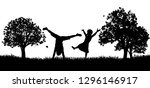 little kids or children playing ... | Shutterstock .eps vector #1296146917