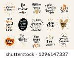 set of love vintage hand drawn... | Shutterstock .eps vector #1296147337