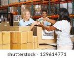 volunteers collecting food... | Shutterstock . vector #129614771