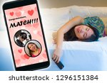 composite with mobile phone and ... | Shutterstock . vector #1296151384