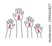 hands with pink ribbon  breast... | Shutterstock .eps vector #1296161827
