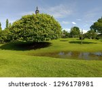 garden view with trees and... | Shutterstock . vector #1296178981