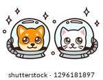 cute cartoon space cat and dog...   Shutterstock . vector #1296181897