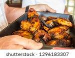 pan of freshly roasted chicken...   Shutterstock . vector #1296183307