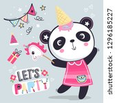 funny panda in pink dress enjoy ... | Shutterstock .eps vector #1296185227
