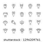 set of bouquet related vector... | Shutterstock .eps vector #1296209761