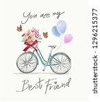 best friend slogan with bicycle ... | Shutterstock .eps vector #1296215377