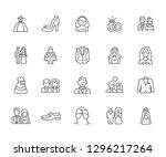 set of wedding related vector... | Shutterstock .eps vector #1296217264
