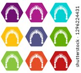 round gate icons 9 set coloful... | Shutterstock . vector #1296224431