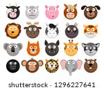 animal emoticons. horse and... | Shutterstock .eps vector #1296227641