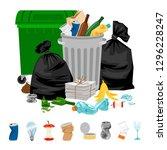 Garbage On White. Cartoon...