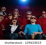 group of people in 3d glasses... | Shutterstock . vector #129623015