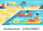 young couple have great time in ... | Shutterstock .eps vector #1296230857