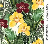 yellow  burgundy orchid...   Shutterstock .eps vector #1296235297