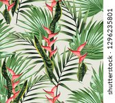 seamless pattern with tropical... | Shutterstock .eps vector #1296235801